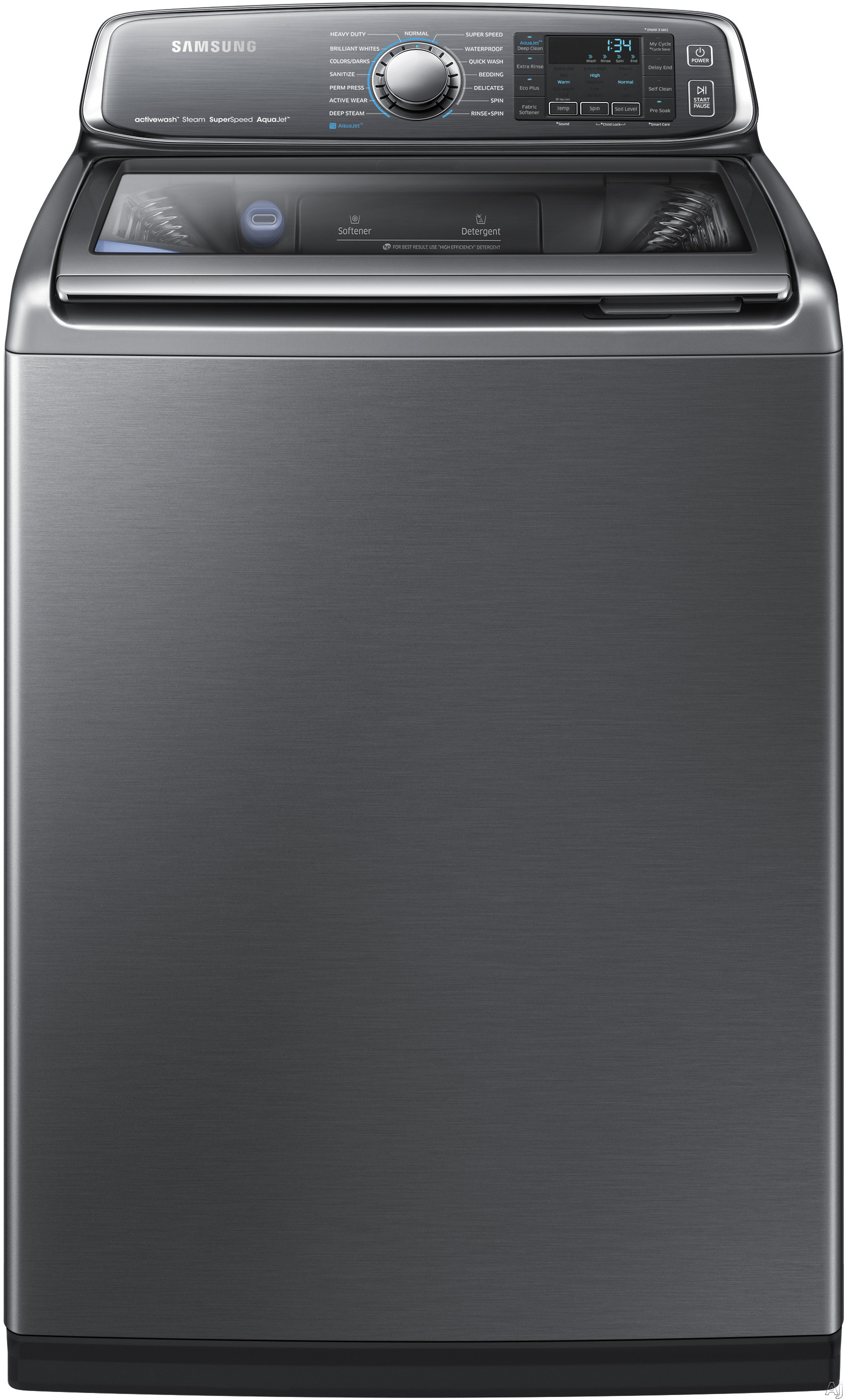 Samsung WA52J8700A 27 Inch 5.2 cu. ft. Top Load Washer with 15 Wash Cycles, 1,100 RPM, Steam, SuperSpeed Cycle, Sanitize Wash Cycles, activewash, AquaJet Deep Clean, Vibration Reduction Technology, Self Clean and ENERGY STAR Certification WA52J8700A