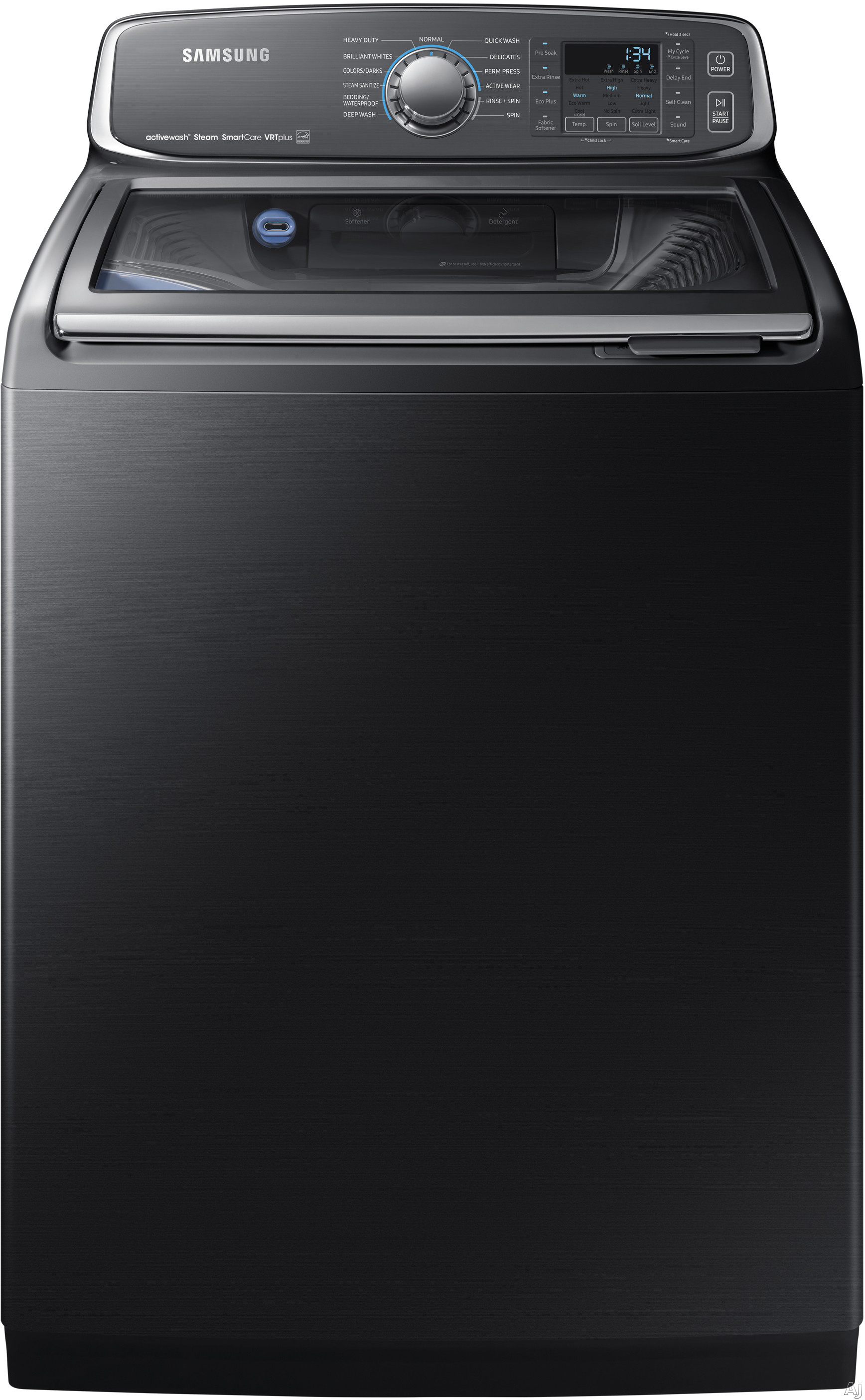 Samsung WA52M7750AV 27 Inch Top Load Washer with activewash™ Sink, Steam, Self Clean, 13 Wash Cycles, 3-Tray Dispenser, Smart Care, VRT Plus™ Technology, ENERGY STAR® and 5.2 cu. ft. Capacity: Black Stainless Steel WA52M7750AV