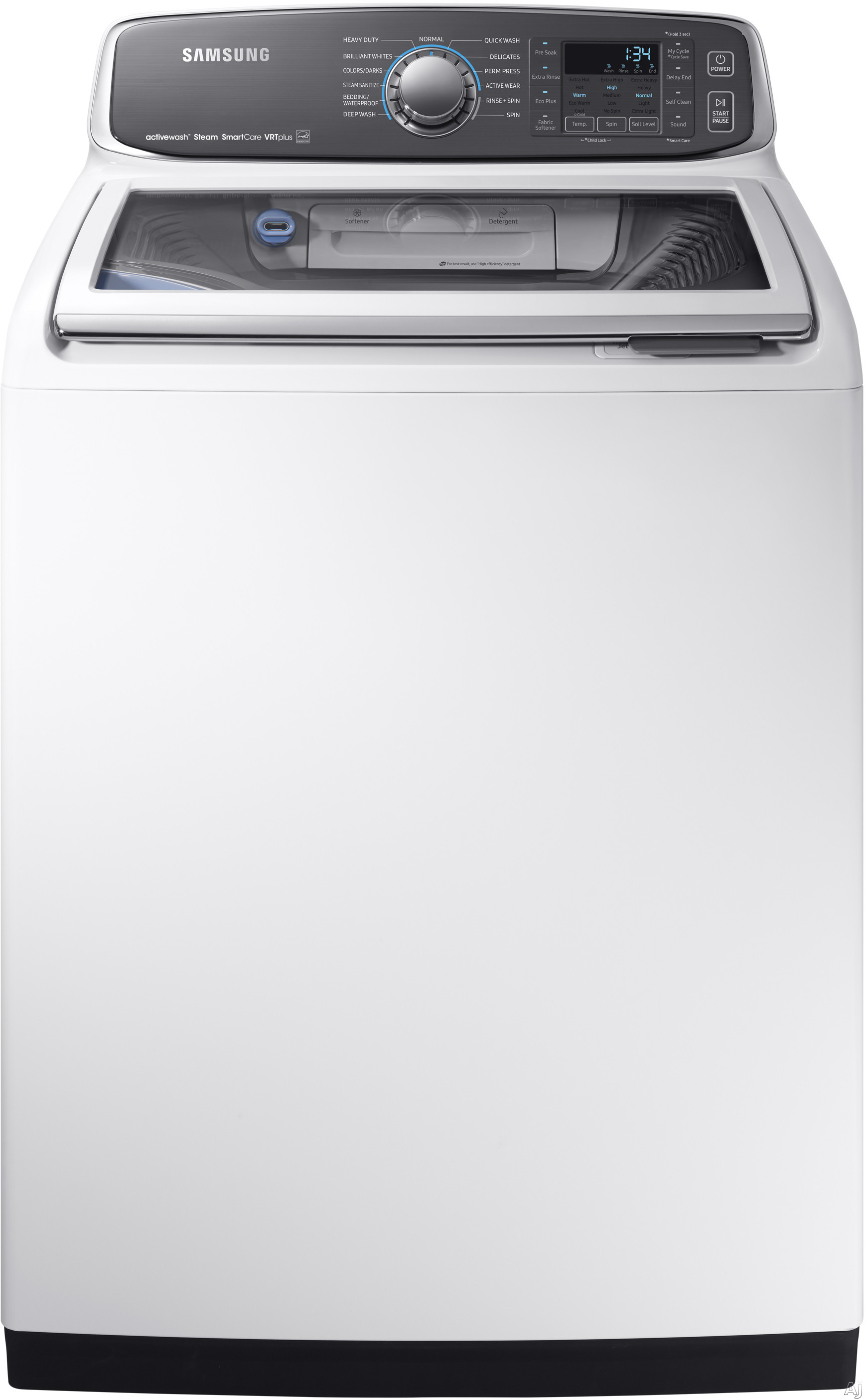 Samsung WA52M7750A 27 Inch Top Load Washer with activewash™ Sink, Steam, Self Clean, 13 Wash Cycles, 3-Tray Dispenser, Smart Care, VRT Plus™ Technology, ENERGY STAR® and 5.2 cu. ft. Capacity