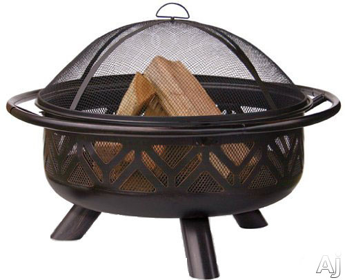 Blue Rhino WAD1009SP Outdoor Firebowl Wood Burning Fire Pit with Geometric Design in Oil Rubbed Bronze