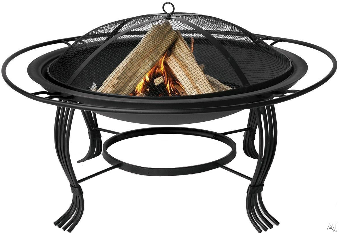 Blue Rhino WAD1050SP Outdoor Firebowl Wood Burning Fire Pit with Barrier Ring in Black