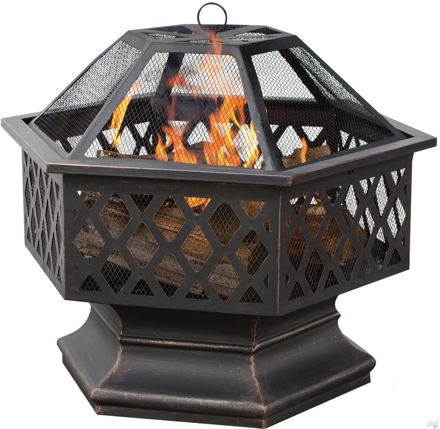 Blue Rhino WAD1377SP Hexagonal Outdoor Firebowl Wood Burning Fire Pit with Lattice Design in Oil Rubbed Bronze