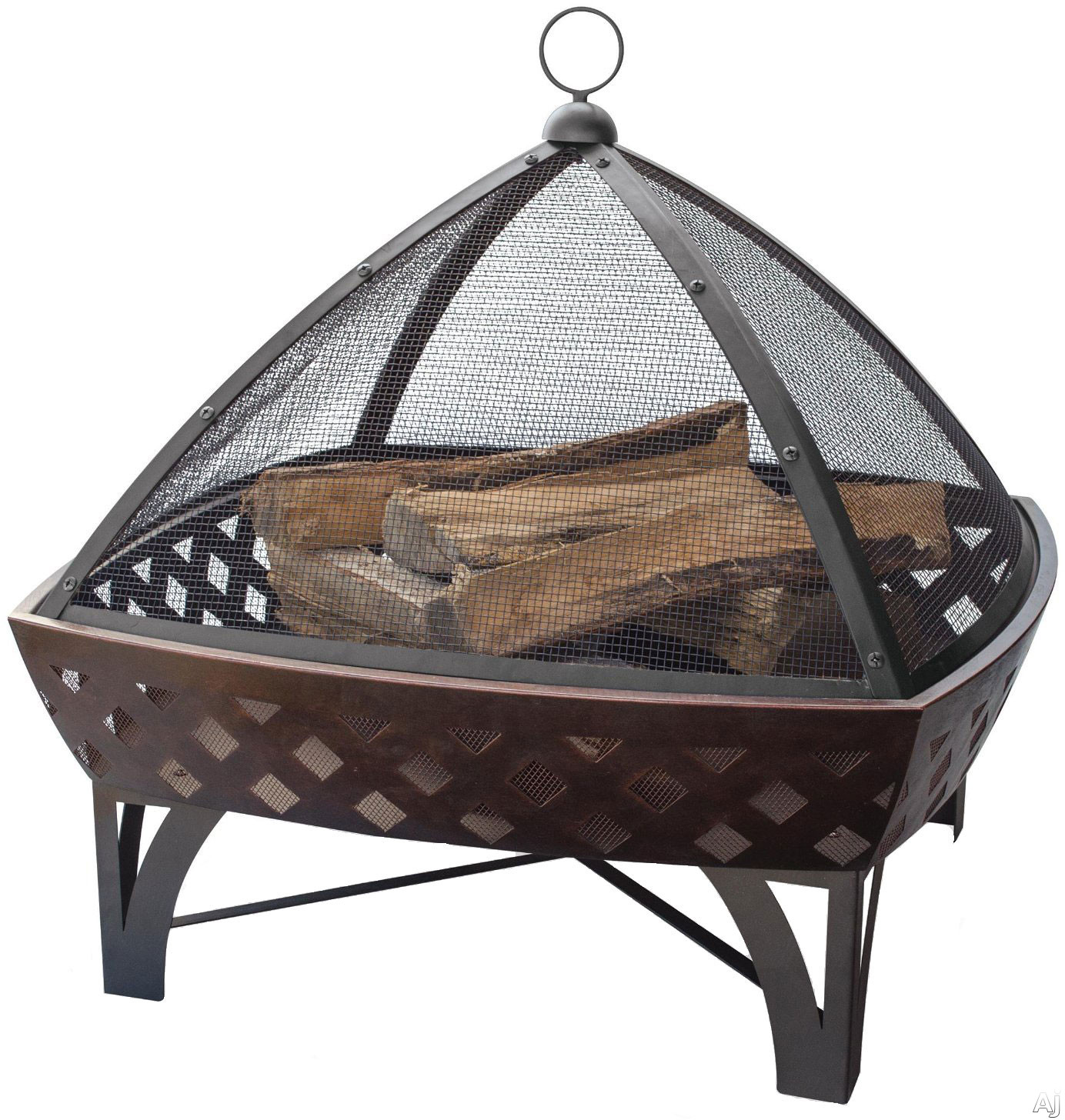 Blue Rhino WAD1401SP Outdoor Firebowl Wood Burning Fire Pit with Lattice Design in Oil Rubbed Bronze
