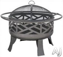 Blue Rhino WAD1412SP Outdoor Firebowl Wood Burning Fire Pit with Geometric Design in Black