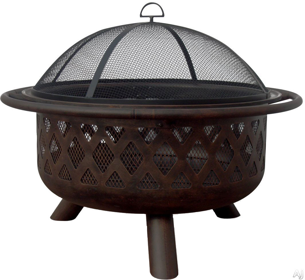 Blue Rhino WAD792SP Outdoor Firebowl Wood Burning Fire Pit with Lattice Design in Oil Rubbed Bronze