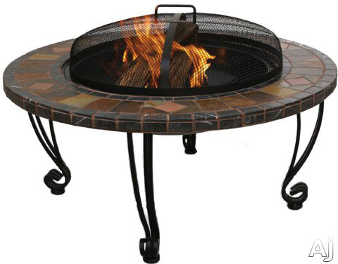 Blue Rhino WAD820SP Outdoor Slate and Marble Wood Burning Firebowl Fire Pit with Copper Accents