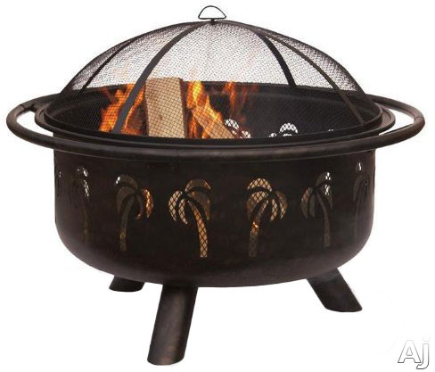 Blue Rhino WAD850SP Outdoor Palm Tree Design Firebowl Wood Burning Fire Pit in Oil Rubbed Bronze