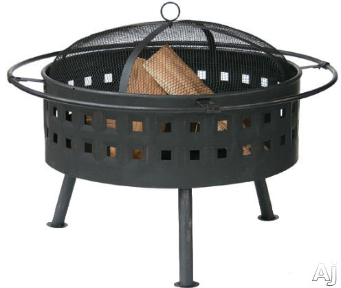 Blue Rhino WAD997SP Outdoor Firebowl Wood Burning Fire Pit with Lattice Design in Aged Bronze