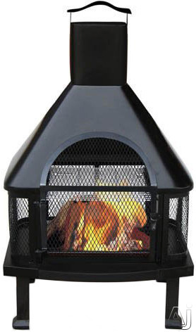 Blue Rhino WAF1013C Outdoor Firehouse Wood Burning Fire Pit in Black