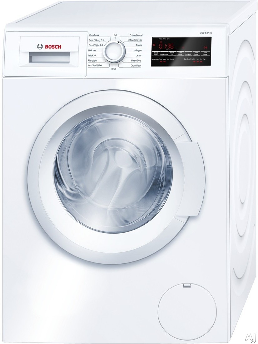 Bosch 300 Series WAT28400UC 24 Inch Front Load Washer with Quick Wash, Allergen Cycle, Automatic Wash, Snag-Free Drum, 15 Total Cycles, Anti-Vibration Design, 16 Towel Capacity, 1,400 RPM, ADA Compliant and ENERGY STAR WAT28400UC
