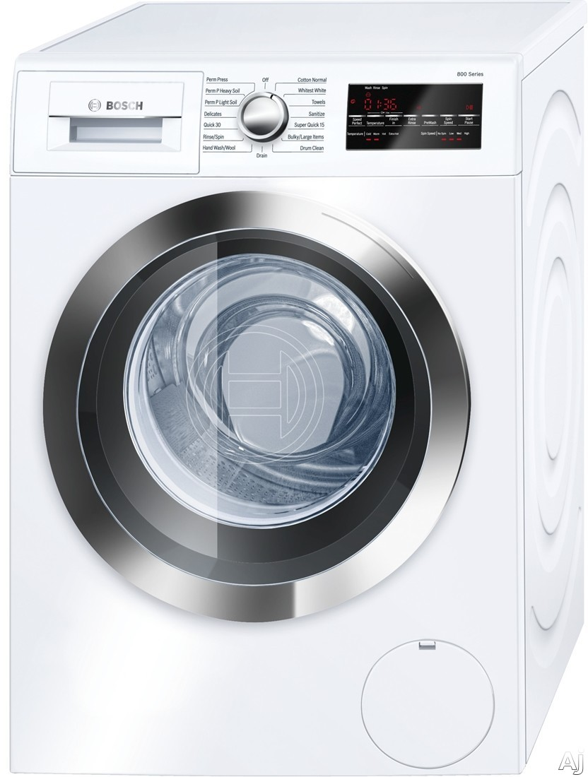 Bosch 800 Series WAT28402UC 24 Inch 2.2 cu. ft. Front Load Washer with AquaStop Plus Leak Protection, EcoSilence Motor, 2.2 cu. ft. Capacity, 1,400 RPM, ADA Compliant, Energy Star, 240 Volt and NEMA 6-15 Plug WAT28402UC