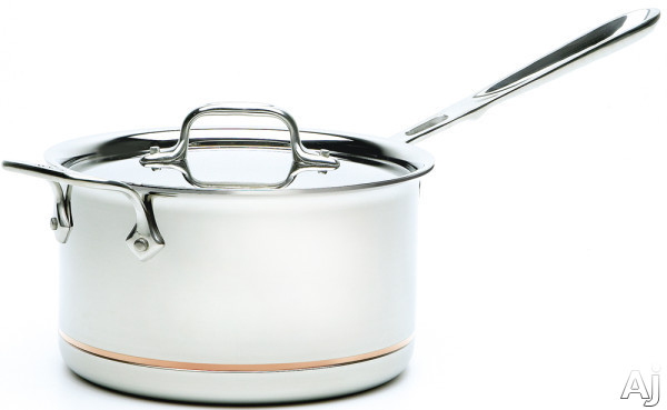 All Clad 6204SS 4-Quart Copper Core Sauce Pan with 5-Ply Stainless Steel, Polished Surface, Stainless Steel Handles, Induction Suitable, Oven Safe, Dishwasher Safe, Limited Lifetime Warranty and Made
