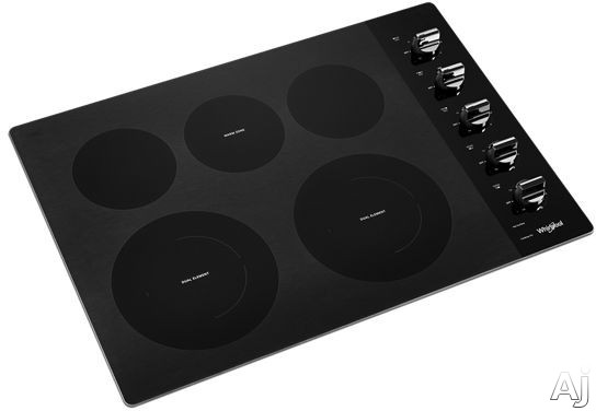 """Whirlpool WCE77US0HB 30 Inch Electric Cooktop with 5 Element Cooktop, Ceramic Glass Cooktop, Wall Oven Compatible, FlexHeatâ""""¢ Dual Radiant Element, 6"""