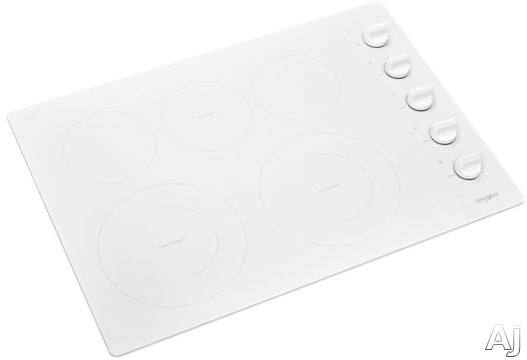 """Whirlpool WCE77US0HW 30 Inch Electric Cooktop with 5 Element Cooktop, Ceramic Glass Cooktop, Wall Oven Compatible, FlexHeatâ""""¢ Dual Radiant Element, 6"""