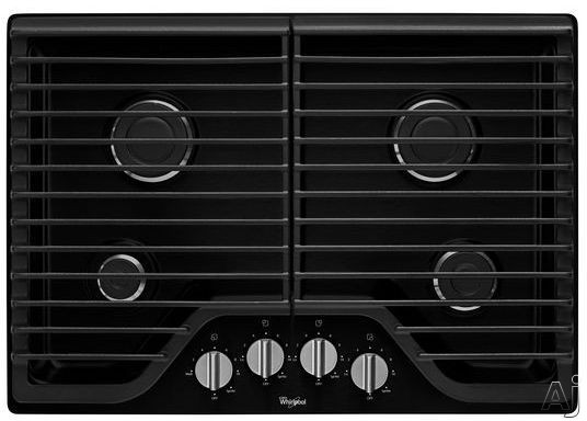 Whirlpool WCG51US0DB 30 Inch Gas Cooktop with 2 Sealed SpeedHeat Rapid Boiling Burners, 1 Sealed Simmer Burner, Continuous Cast-Iron Grates, SpillGuard Top and Dishwasher-Safe Knobs: Black
