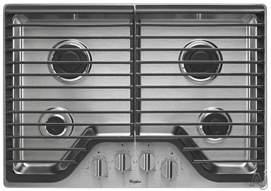 Whirlpool WCG51US0D 30 Inch Gas Cooktop with 2 Sealed SpeedHeat Rapid Boiling Burners, 1 Sealed Simmer Burner, Continuous Cast-Iron Grates, SpillGuard Top and Dishwasher-Safe Knobs
