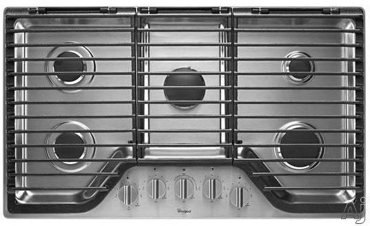 Whirlpool WCG97US6DS 36 Inch 5-Burner Gas Cooktop with FlexHeat Burner, SpeedHeat Burner, EZ-2-Lift Grates, SpillGuard Design and Wall Oven Compatible