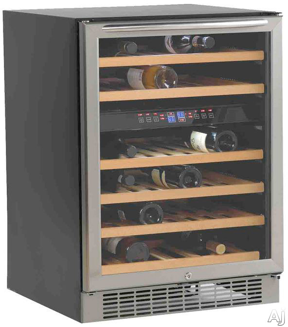 Avanti WCR5450DZ 24 Inch Undercounter Dual Zone Wine Cooler with 46-Bottle Capacity, Slide-Out Wooden Shelves, Interior Light, Door Lock and Easy Touch Digital Controls