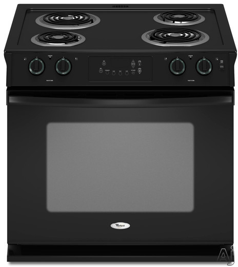 """Whirlpool WDE150LVB 30"""" Drop-in Electric Range with 4 Coil Elements, 4.5 cu. ft. Self-Clean Oven, Delay Clean, One Touch Bake/Broil, Hot Surface Indicator Lights and Sabbath Mode: Black"""