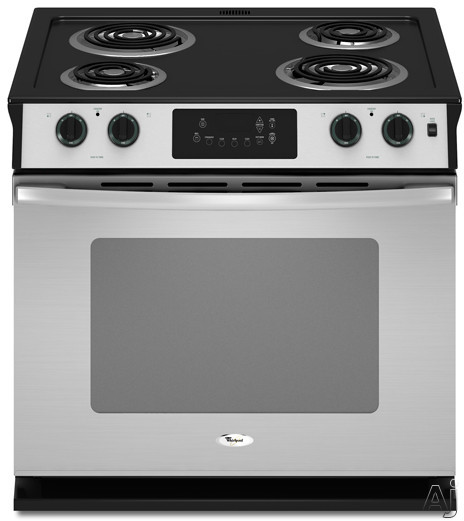 "Whirlpool WDE150LV 30"" Drop-in Electric Range with 4 Coil Elements, 4.5 cu. ft. Self-Clean Oven, Delay Clean, One Touch Bake/Broil, Hot Surface Indicator Lights and Sabbath Mode"