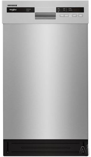 Whirlpool WDF518SAHM 18 Inch Full Console Dishwasher with Cycle Memory, Adjustable Upper Rack, Dual Spray Arm, Heavy Cycle, Hi-Temp Wash, Heated Dry, Control Lock, Stainless Steel Tub, 50 dBA Silence