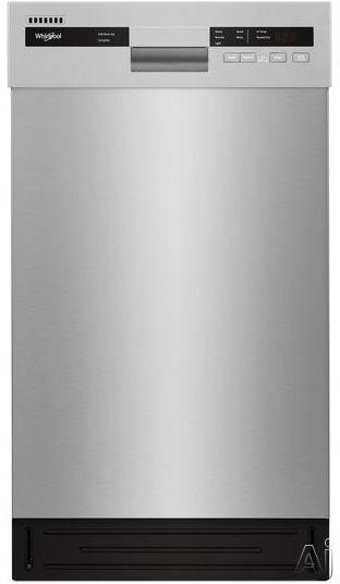 Whirlpool WDF518SAHM 18 Inch Full Console Dishwasher with Cycle Memory, Adjustable Upper Rack, Dual Spray Arm, Heavy Cycle, Hi-Temp Wash, Heated Dry, Control Lock, Stainless Steel Tub, 50 dBA Silence