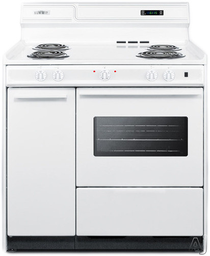 Summit WEM430KW 36 Inch Freestanding Electric Range with Oven Window, Side Storage and Clock with Timer