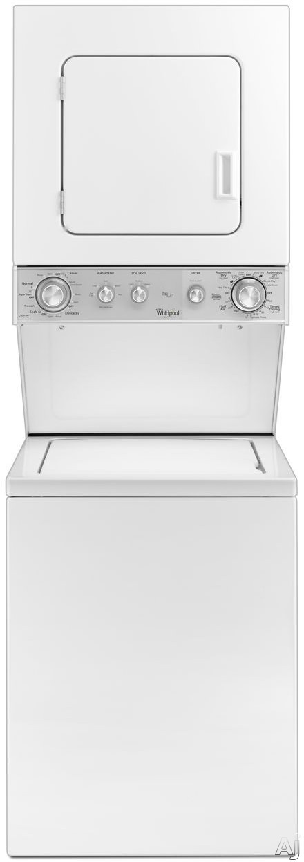 Whirlpool WET4024EW 24 Inch Electric Laundry Center with 1.5 cu. ft. Washer Capacity, 3.4 cu. ft. Dryer Capacity, 5 Wash and Dry Cycles, Soak Setting, Bleach/Fabric Softener Dispensers, Spreckle Porcelain Basket and AutoDry Drying System WET4024EW