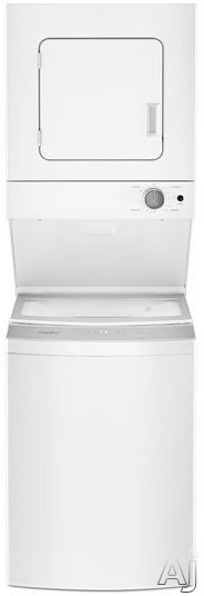 "Whirlpool WET4024HW 24 Inch Electric Laundry Center with 1.6 cu. ft. Washer, 6 Wash Cycles, 3.4 cu. ft. Dryer, 4 Dry Cycles, AutoDryâ""¢ Drying System, EasyViewâ""¢ Glass Lid with Slow-Close Technology and Automatic Bleach and Fabric Softener Dispensers WE"
