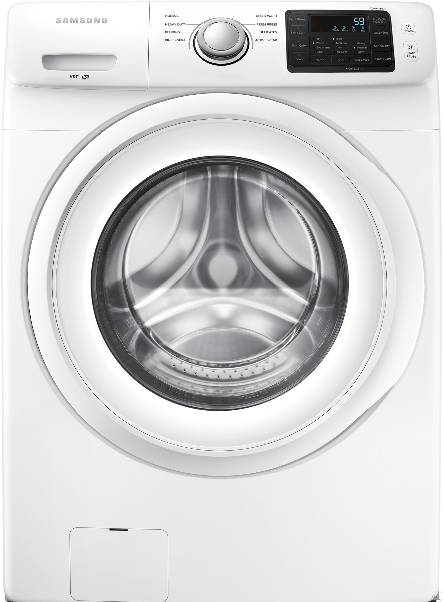 Samsung WF42H5000AW 27 Inch 4.2 cu. ft. Front Load Washer with 8 Wash Cycles, 1,200 RPM, Vibration Reduction Technology, Smart Care, Self Clean+, Diamond Drum Interior and ENERGY STAR Certified WF42H5000AW