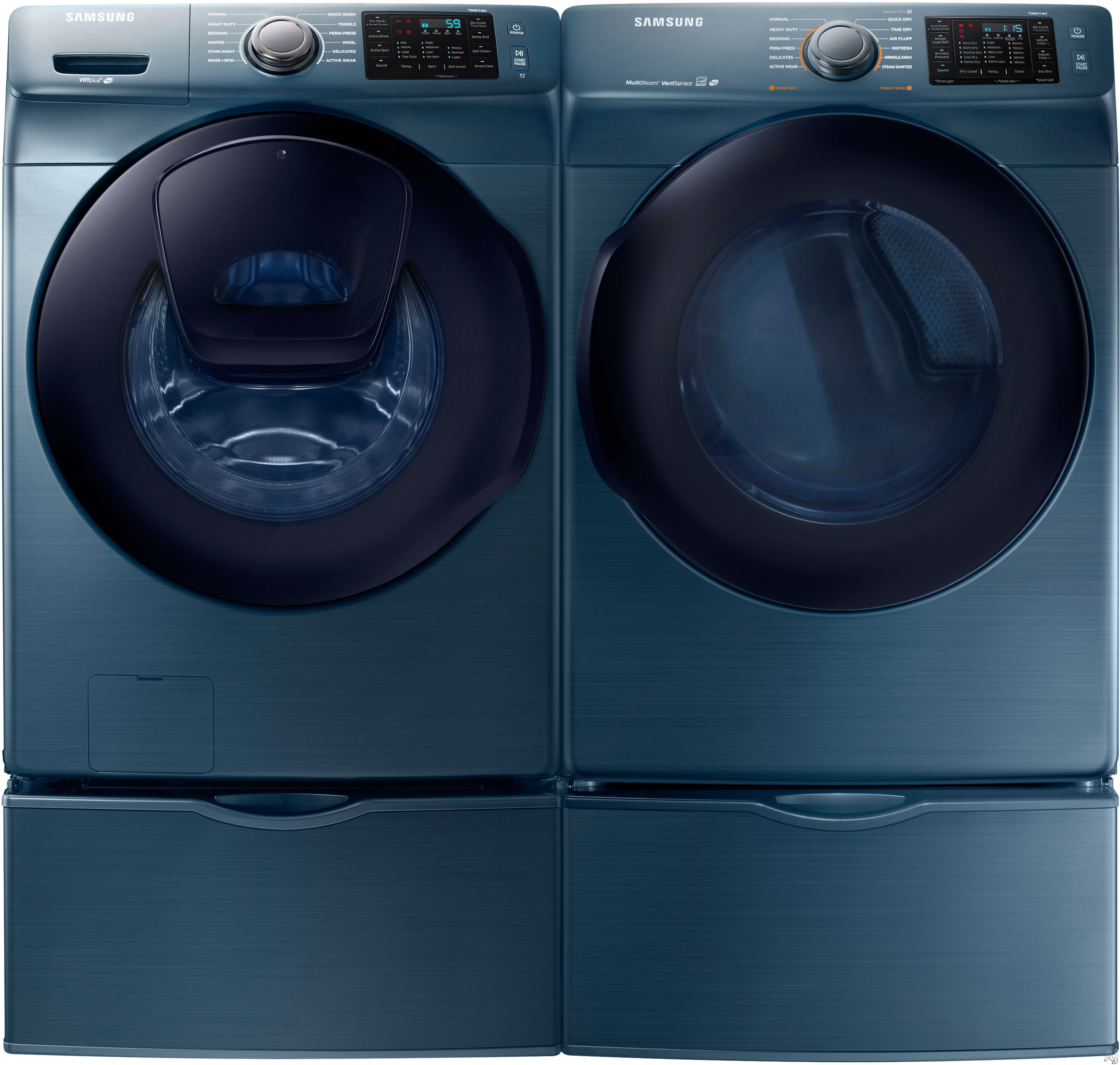 Samsung SAWADRGA27 Side-by-Side on Pedestals Washer & Dryer Set with Front Load Washer and Gas Dryer in Azure