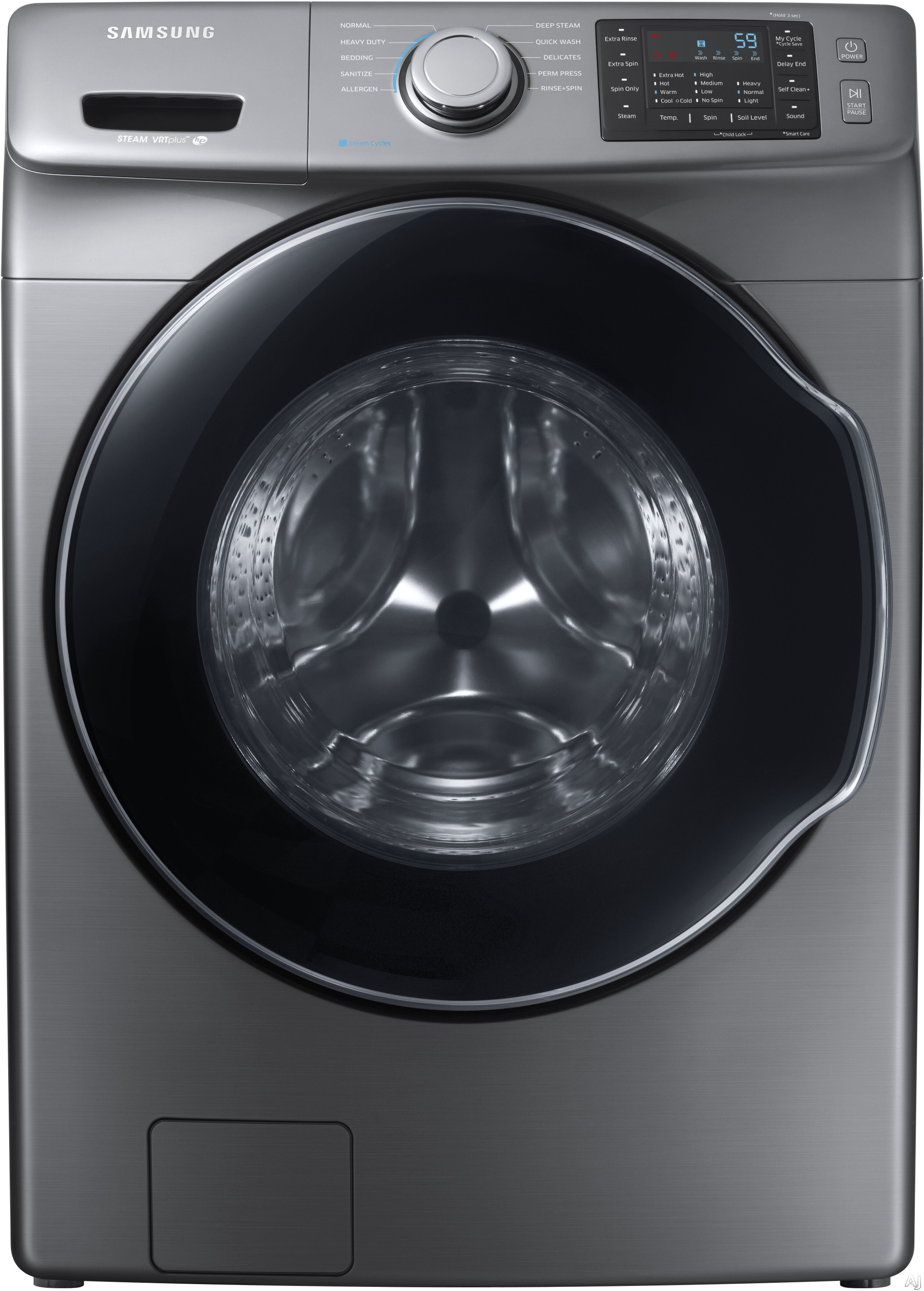 Samsung WF45M5500AP 27 Inch Front Load Washer with Steam, Self Clean+ Cycle, Smart Care, 10 Wash Cycles, Quick Wash, Allergen Cycle, 3-Tray Dispenser, Internal Water Heater, VRT Plus™ Technology, ENERGY STAR® and 4.5 cu. ft. Capacity: Platinum WF45M55
