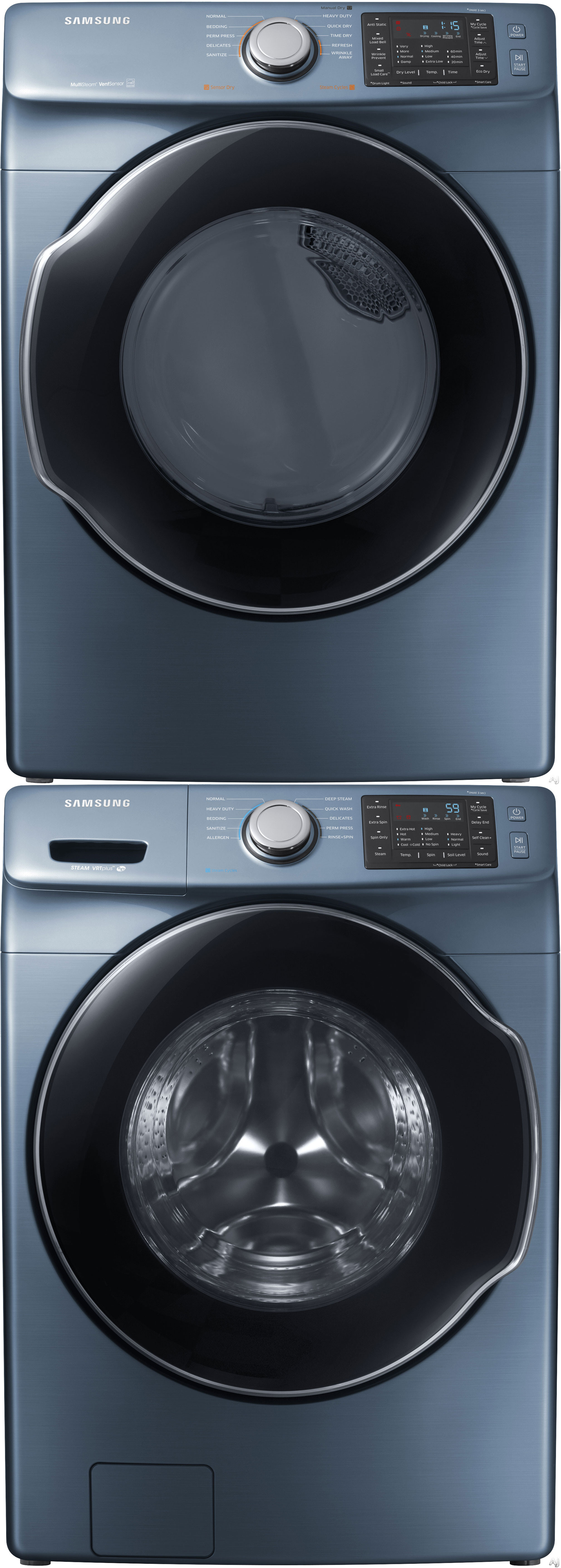 stackable washer and gas dryer. Samsung SAWADREBL24 Stacked Washer \u0026 Dryer Set With Front Load And Electric In Blue Stackable Gas R