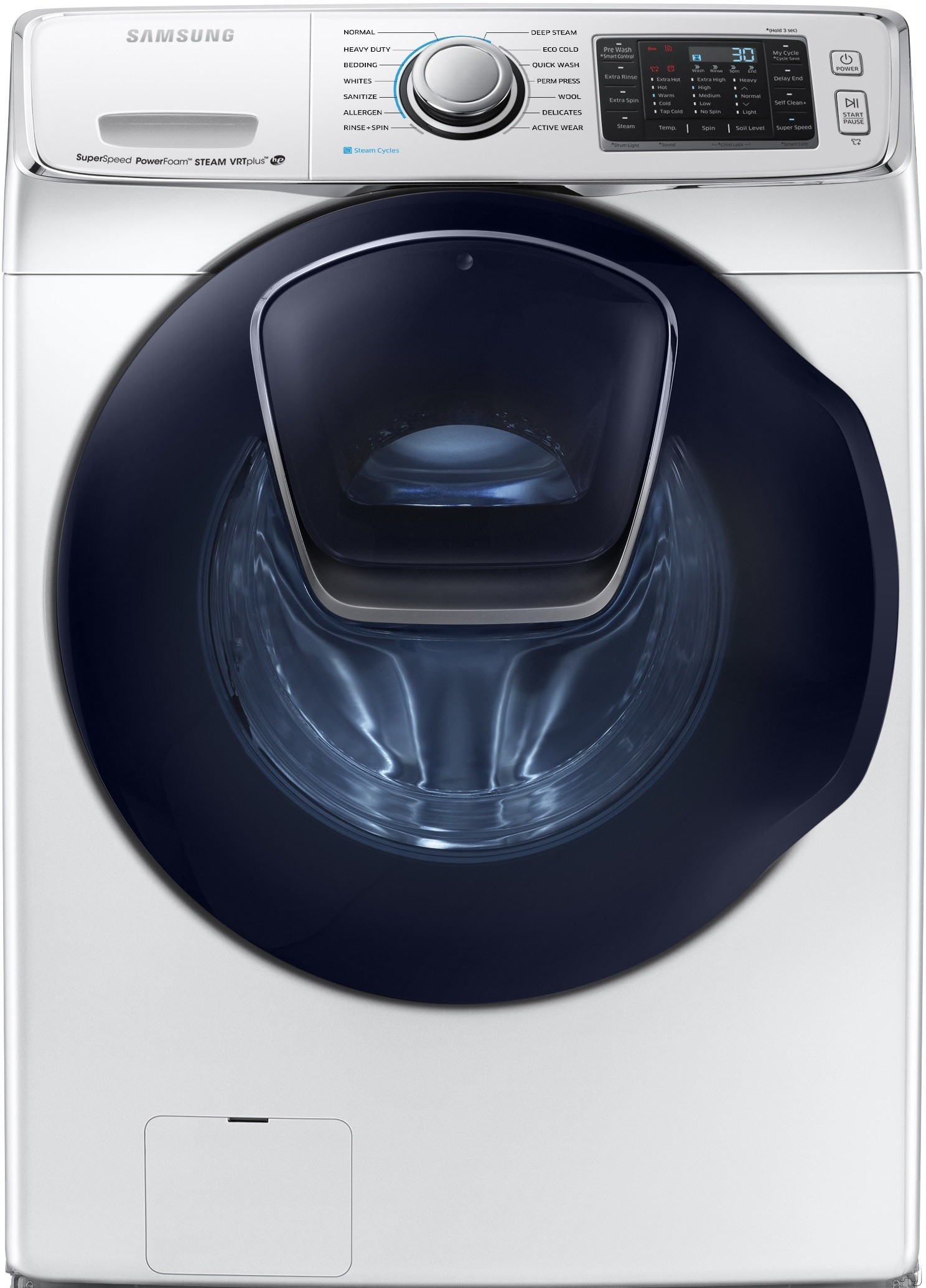 Samsung WF50K7500AW 27 Inch 5.0 cu. ft. Capacity Front-Load Washer with Super Speed, AddWash, 14 Preset Wash Cycles, 13 Wash Options, 1,300 RPM, Steam, PowerFoam, Smart Care, Vibration Reduction Plus, Self Clean Plus and Energy Star Rated: White WF50K750