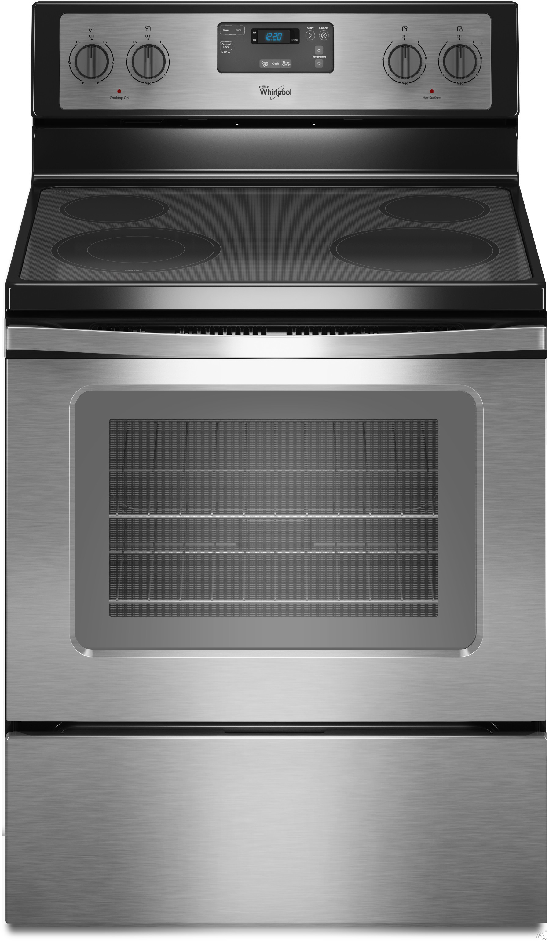 Whirlpool WFE320M0E 30 Inch Freestanding Electric Range with 4 Radiant Elements, 3,000 Watts, 4.8 cu. ft. Traditional Oven, Easy Wipe Ceramic Glass Cooktop and FlexHeat Element WFE320M0E