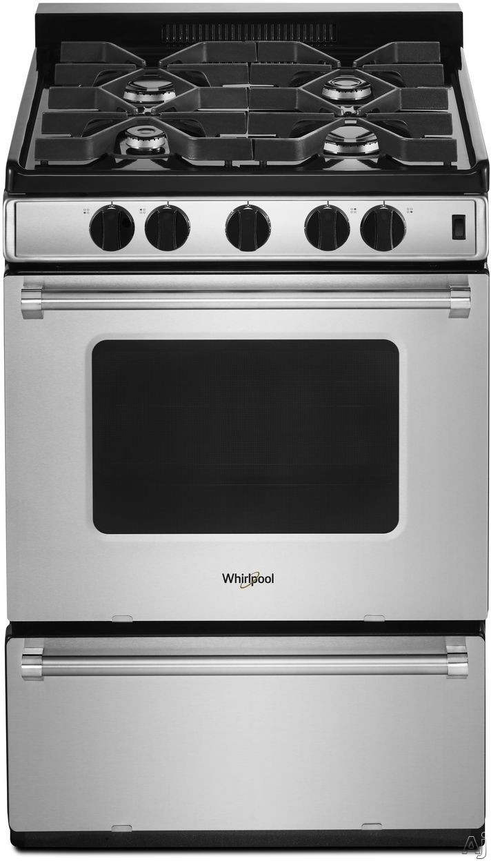 Whirlpool WFG500M4HS 24 Inch Freestanding Gas Range with Sealed Burners, AccuSimmer® Burner, Broiler Drawer, High-Powered Burner, Dishwasher-Safe Grates, ADA Compliant and 2.96 cu. ft. Oven Capacit