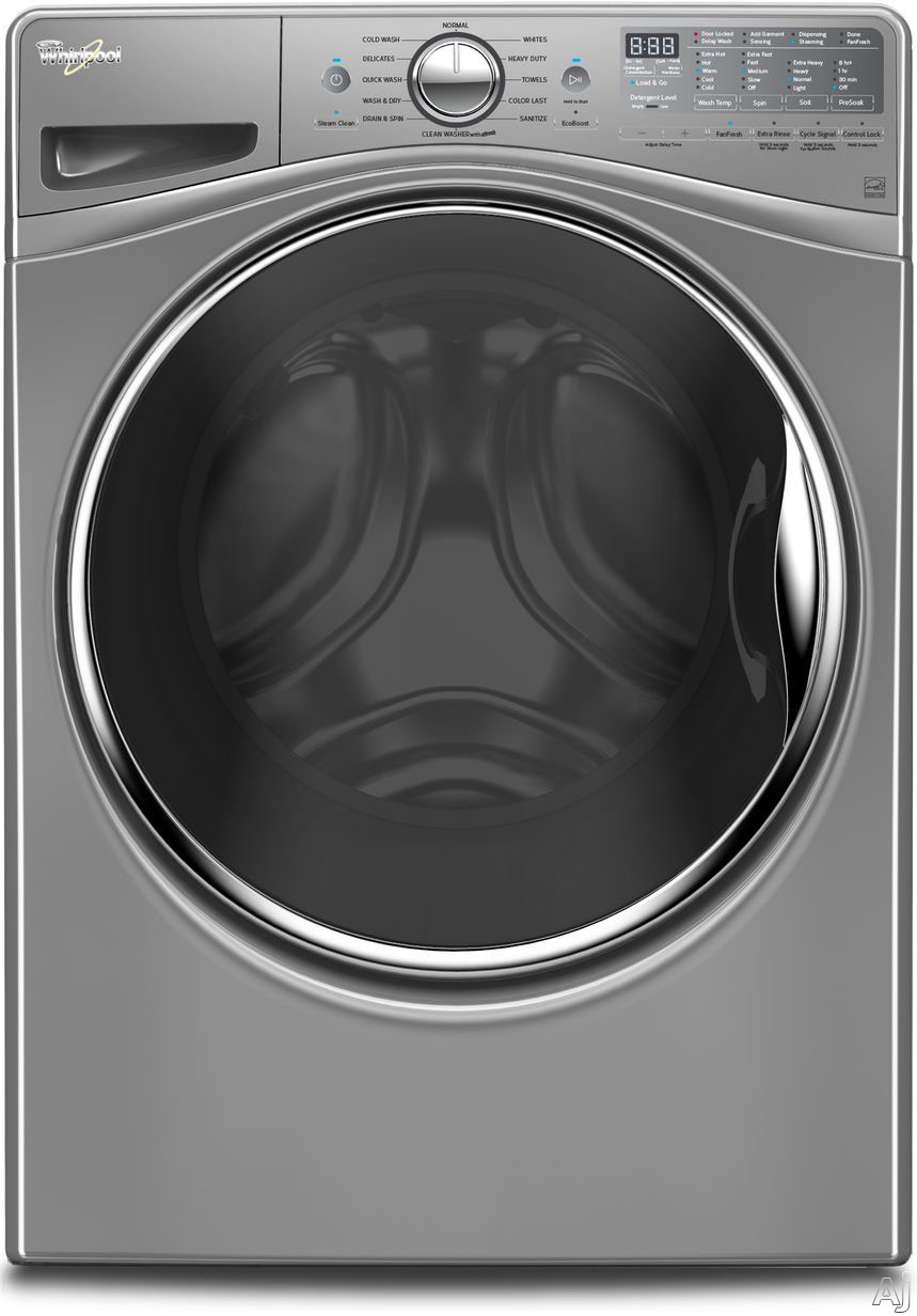 Whirlpool WFW92HEFC 27 Inch 4.5 cu. ft. Front Load Washer with Load & Go, Adaptive Wash, Steam Clean, 12 Wash Cycles, 1,200 RPM, Smooth Wave Stainless Steel Basket, Precision Dispense and ENERGY STAR Rated: Chrome Shadow WFW92HEFC