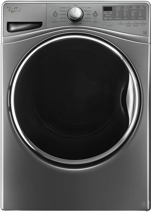 Whirlpool WFW92HEFU 27 Inch 4.5 cu. ft. Front Load Washer with Load & Go, Adaptive Wash, Steam Clean, 12 Wash Cycles, 1,200 RPM, Smooth Wave Stainless Steel Basket, Precision Dispense and ENERGY STAR Rated: Diamond Steel WFW92HEFU