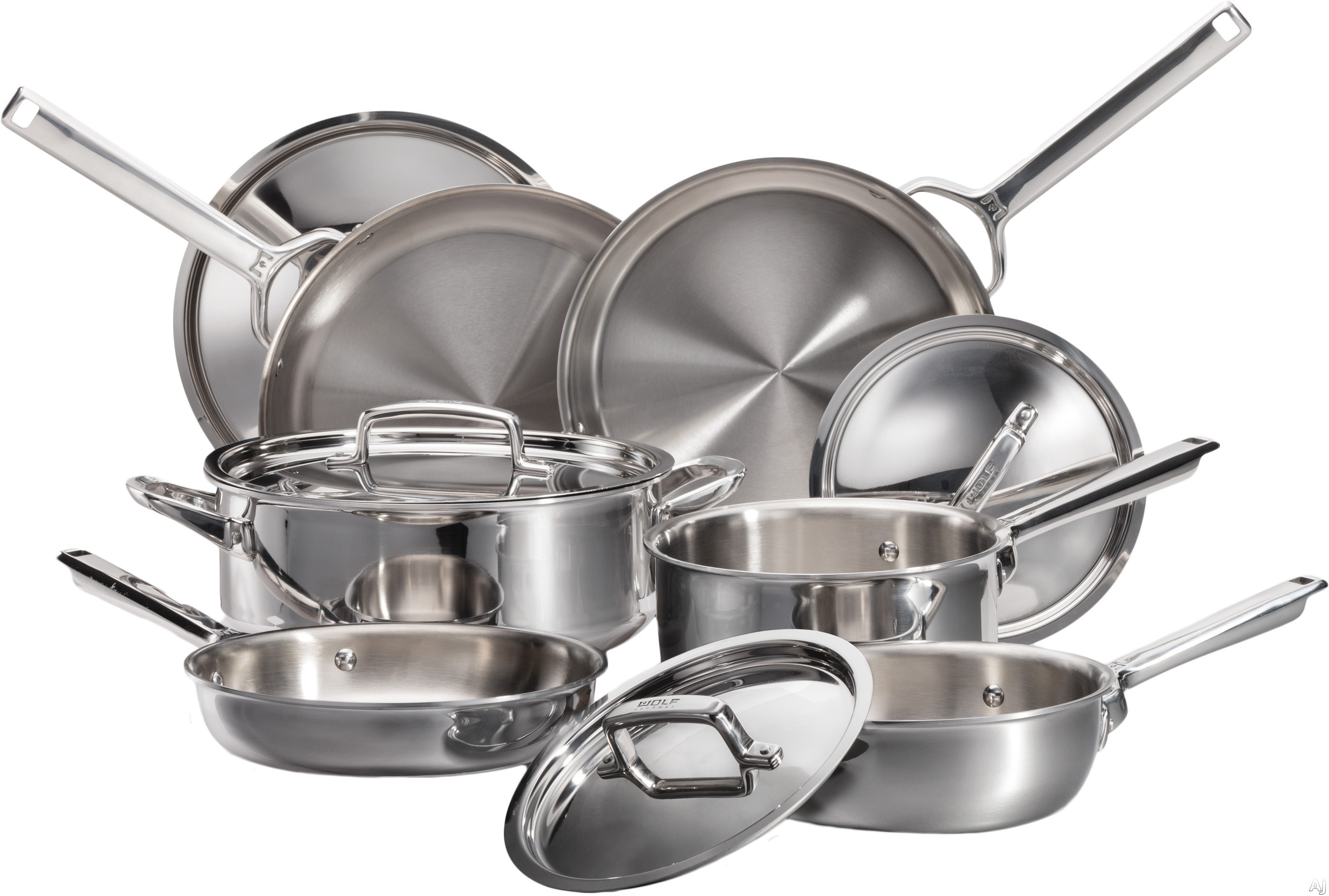 Wolf Gourmet WGCW100S 10 Piece Cookware Set with 3.5 Quart Sautee Pan, 11.5 Inch Skillet, 6 Quart Round Dutch Oven with Lid, 3 Quart Saucepan with Lid, 2 Quart Saucier with Lid and 8.5 Inch Skillet