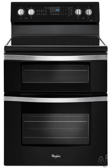 "Whirlpool WGE745C0FE 30 Inch Electric Range with True Convection, Frozen Bakeâ""¢ Technology, FlexHeatâ""¢ Triple Radiant Element, 6.7 cu. ft. Oven Capacity, 5 Element Ceramic Glass Cooktop, Dual Ovens, SteamClean Option and Rapid Pre-Heat: Black Ice WGE74"