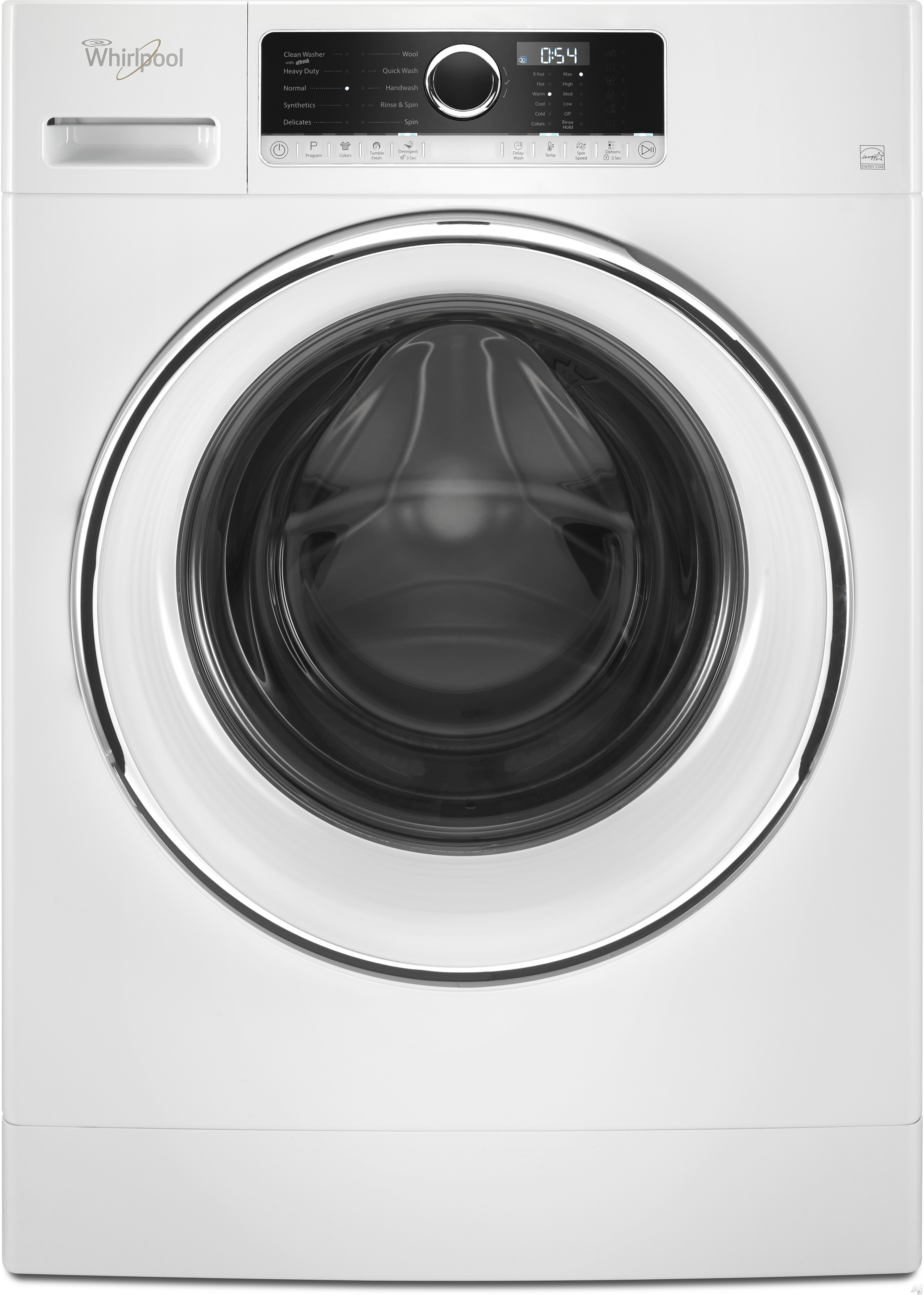 Image of Whirlpool WFW5090GW 24 Inch 2.3 cu. ft. Compact Front Load Washer with Cold Water PreWash for Stains, Heavy Soil Cycle, Quick Wash Cycle, Colors Option, TumbleFresh, Guided Mode, Wool Cycle, Handwash Cycle, Synthetics Cycle and Stainless Steel Drum