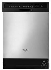 Whirlpool WDF550SAFS 24 Inch Full Console Dishwasher with 12 Place Setting Capacity, 5 Wash Cycles, 3 Option Selections, Heated Dry, Cup Shelves, Nylon Rack Coating, High Temperature Wash, Delay Start, ADA Compliant and ENERGY STAR Qualified: Stainless S