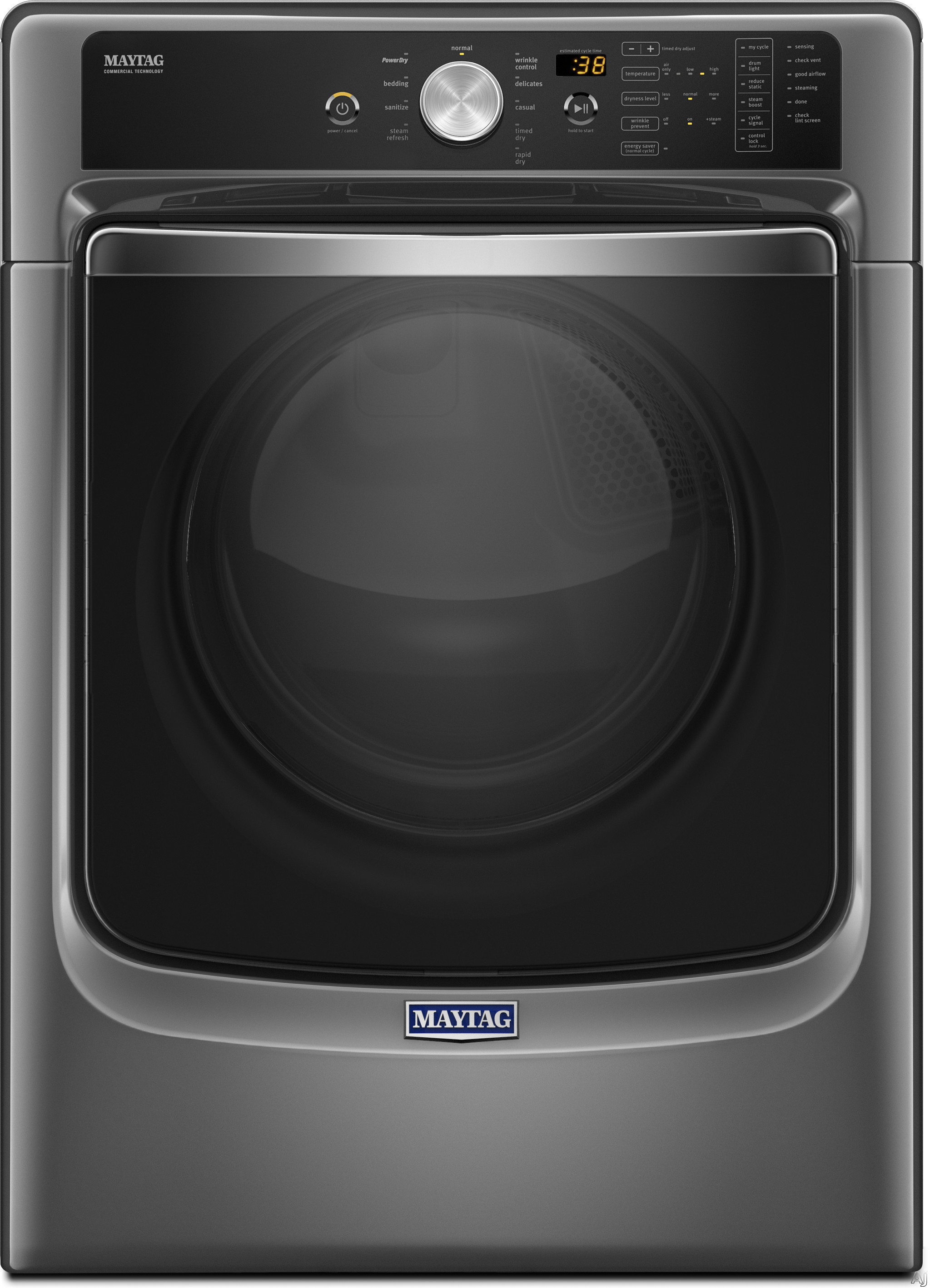 Image of Maytag MGD8200FC 27 Inch 7.4 cu. ft. Gas Dryer with Steam, PowerDry, Wrinkle Prevent, Sanitize Cycle, Rapid Dry Cycle, 7.4 cu. ft. Capacity, 10 Dry Cycles, 5 Temperature Selections, ADA Compliant and Energy Star Rated: Metallic Slate