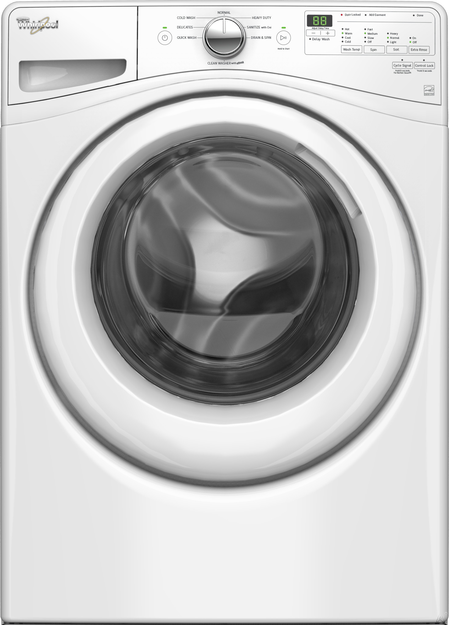 """WFW75HEFW 27"""""""" Front Load Washer with 4.5 Cu. Ft. Capacity  8 Wash Cycles  4 Temperature Settings  Capacitive Touch Control and Adaptive Wash Technology in"""" 681043"""