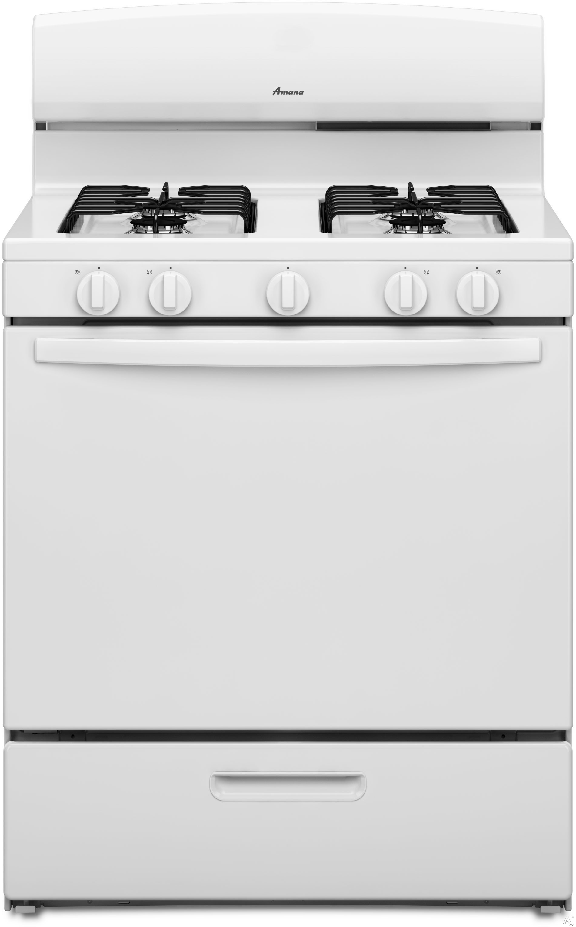 Amana Agr4230baw 30 Inch Freestanding Gas Range With 5.1 Cu. Ft. Capacity, 4 Sealed Burners, Spillsaver Upswept Cooktop, Broiler Drawer And Lp Gas Conversion Kit Included: White