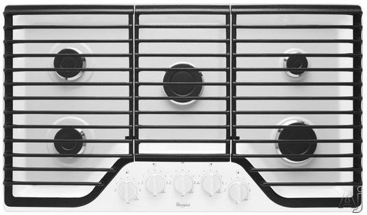 Whirlpool WCG51US6DW 36 Inch Gas Cooktop with SpeedHeat, AccuSimmer Burner, 5 Sealed Burners, Continuous Cast-Iron Grates, Dishwasher-Safe Knobs, SpillGuard Cooktop and Wall Oven Compatible: White