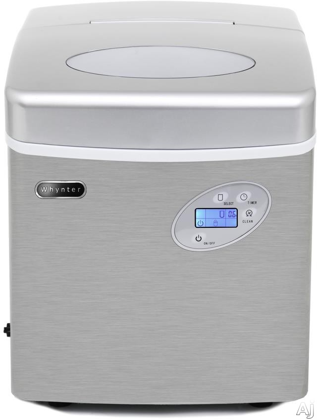 Whynter IMC491DC 17 Inch Freestanding Portable Ice Maker with 49 Lbs. Daily Ice Production, 2.7 Lb. Storage Capacity, 3 Ice Sizes, Auto Shutoff, Ice Scoop, Self-Cleaning Mode, 12' Water Line Connection Included and No Drain Required, IMC491DC