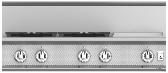 """Hestan KRT364GDLP 36 Inch Rangetop with 4 Sealed Burners, 12 Inch Griddle, Cast-Iron Continuous Grates, Backlit Control Knobs and Marquiseâ""""¢ Control Panel"""