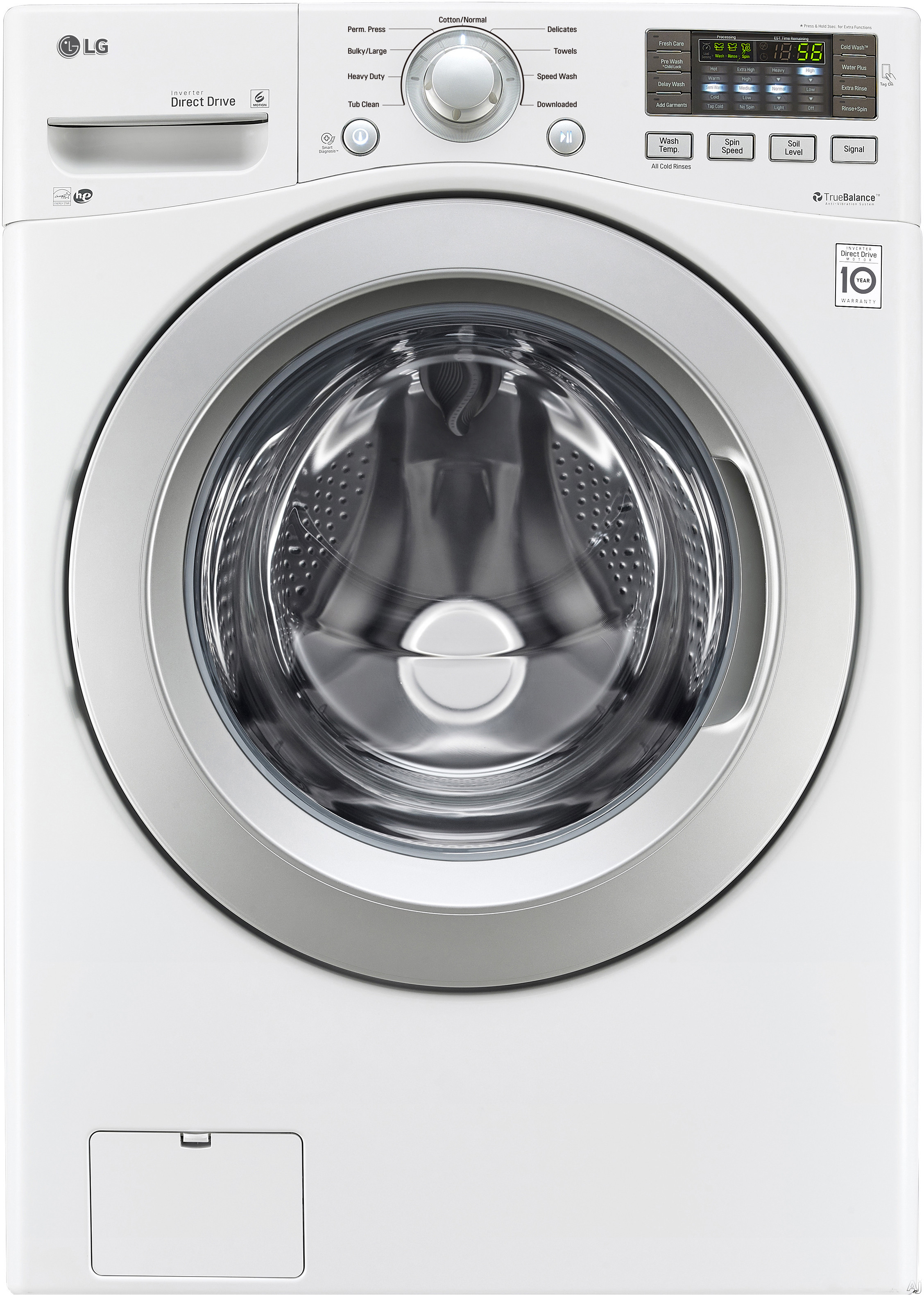 LG WM3270CW 27 Inch Front Load Washer with NFC Smartphone Technology, TrueBalance Anti-Vibration, NeveRust Drum, 4.5 cu. ft. Capacity, 9 Wash Cycles, LoDecibel Quiet Operation and 4 Tray Dispenser WM3270CW