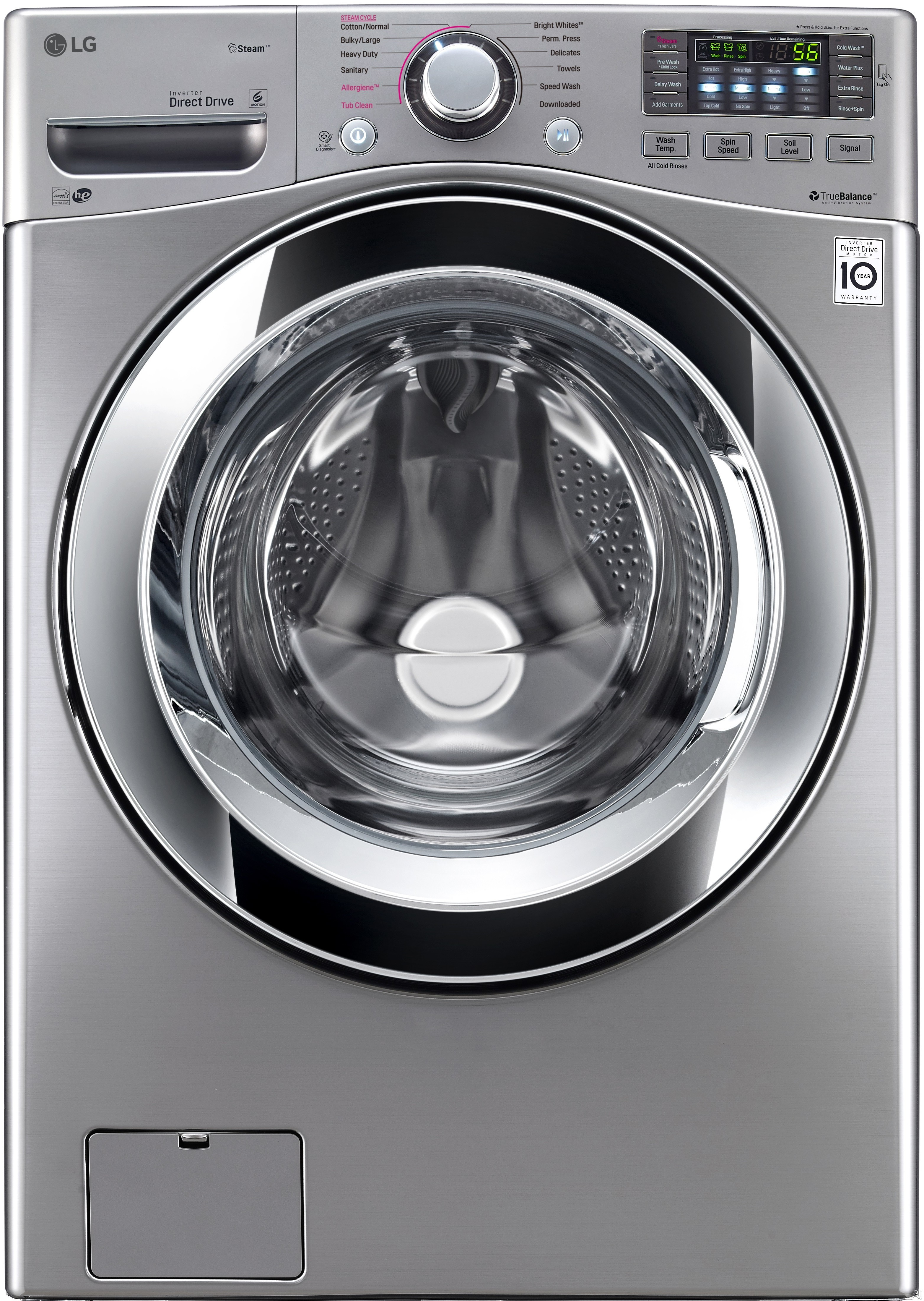 LG WM3670HVA 27 Inch 4.5 cu. ft. Front Load Washer with Steam, Smart ThinQ (Wi-Fi), NFC Tag-On Technology, Sanitary Cycle, 12 Wash Cycles, Allergen Cycle, NeveRust™ Stainless Steel Drum, 4-Tray Dispenser and ENERGY STAR®: Graphite Steel WM3670HVA